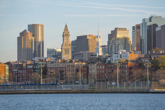 Boston City Skyscrapers, Custom House, Old North Church and Boston Waterfront from Charlestown Navy Yard, Boston, Massachusetts, USA.