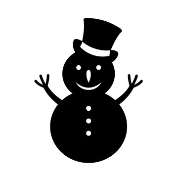 Snowman black silhouette illustration