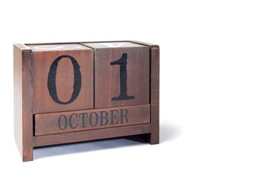 Wooden Perpetual Calendar set to October 1st