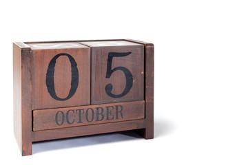 Wooden Perpetual Calendar set to October 5th