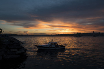 Maiden Tower (Tower of Leandros, Turkish: Kiz Kulesi) tranquil scenery at the entrance to Bosporus Strait in Istanbul, Turkey (KIZ KULESI – SALACAK-USKUDAR