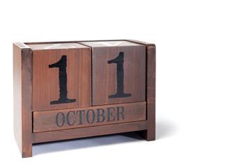 Wooden Perpetual Calendar set to October 11th