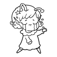 cartoon crying alien girl