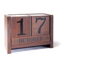 Wooden Perpetual Calendar set to October 17th