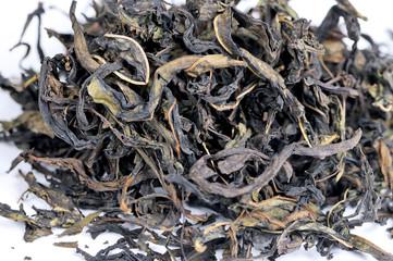Dry tea leaves of herbal aromatic tea. Close up