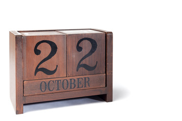Wooden Perpetual Calendar set to October 22nd