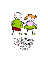 Happy Valentine's Day. Boy and girl