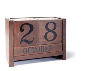 Wooden Perpetual Calendar set to October 28th