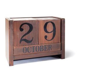 Wooden Perpetual Calendar set to October 29th