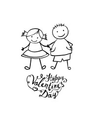 Happy Valentine's Day. Vector boy and girl