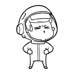 cartoon stressed astronaut