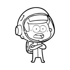 cartoon surprised astronaut