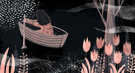Girl rowing a boat on a moonlit lake