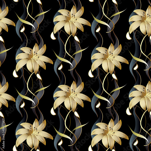 Floral Luxury Seamless Pattern Vector Black Striped Background 3d Wallpaper With Vintage Hand