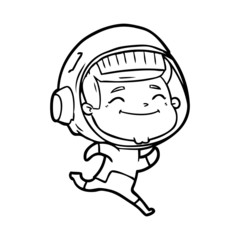 happy cartoon astronaut