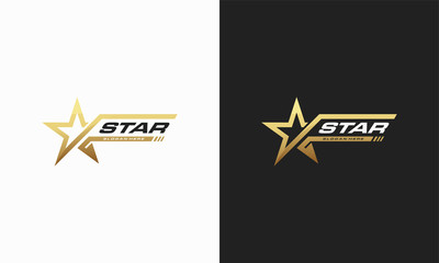 Luxury Gold Star logo designs template, Elegant Star logo designs, Fast star logo designs concept