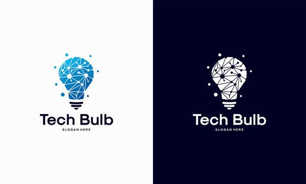 Modern Tech Bulb logo designs concept, Pixel Technology Bulb Idea logo template
