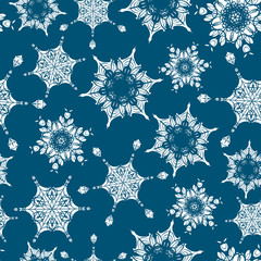 Vector holiday navy blue hand drawn christmass snowflakes repeat seamless pattern background. Can be used for fabric, wallpaper, stationery, packaging.