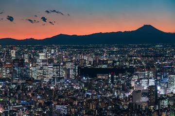 マジックタイム時の東京都心の都市風景