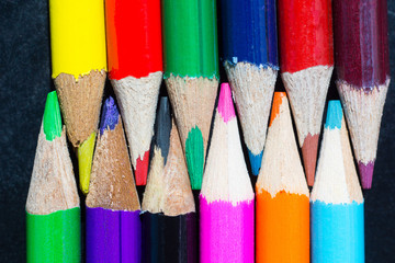 Colored pencils background selective focus
