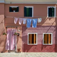 Front of the house at Burano island. Venice, Italy. Travel