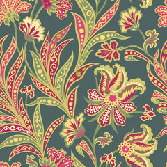 Floral seamless pattern. Flourish oriental ethnic background. Ornament with fantastic flowers and leaves. Wonderland flourish of Indian fabric patterns.