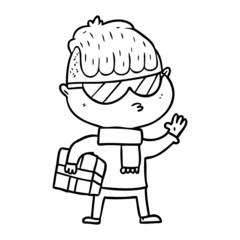 cartoon boy wearing sunglasses carrying xmas gift
