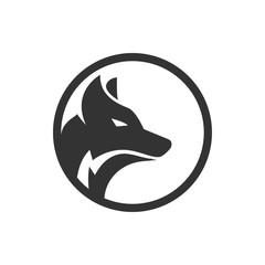 Circle wolf logo design concept