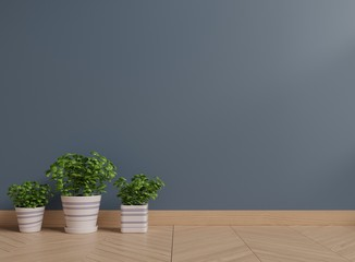 Dark wall with plants on a floor,3D rendering