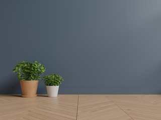 Dark wall interior design with plants on a floor,3D rendering