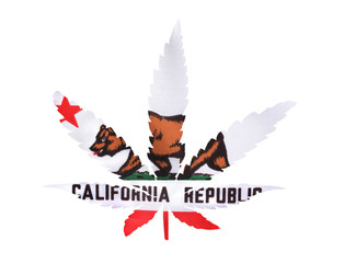 Marijuana Leaf California Flag