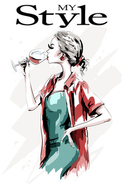 Beautiful young woman with wine glass. Cute hand drawn woman in fashion clothes. Stylish blond hair lady drinking. Sketch.