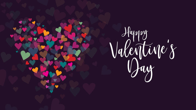 Happy Valentine's Day Vector Calligraphy with Colorful Hearts Illustration