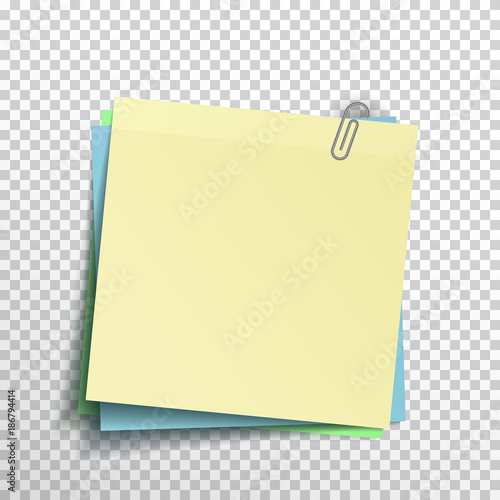 Template complect yellow, blue, green sticky note isolated on ...