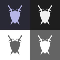 Shield and sword emblem. Defender logo template. Security sign.