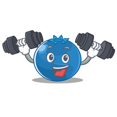Fitness blueberry character cartoon style