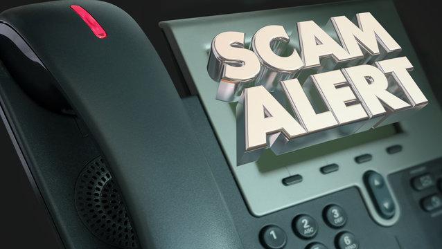 Scam Alert Telephone Fraud Crime 3d Illustration