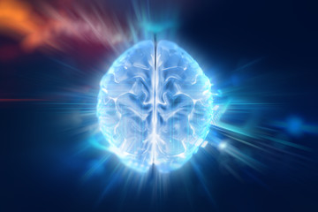 3d illustration of human brain on technology background.