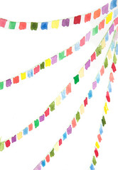 Colorful bunting flags on white background, watercolor hand painted on paper