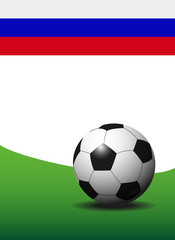soccer ball on field with russian flag