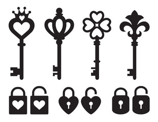 Silhouette of keys and locks with heart and crown shape vector illustration.