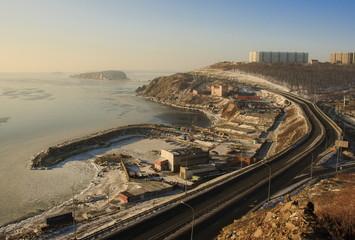 Winter Landscape of Vladivostok. Russia.