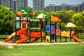 Children Playground equipment (with clipping path) isolated
