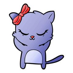 cute cartoon cat with bow
