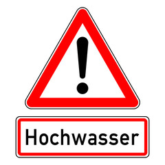 ncsc5 NewCombinationSignCaution ncsc - Achtung Ausrufezeichen Unwetterwarnung / Überschwemmungen / dreieckig - Wetterkennzeichnung mit Text: Hochwasser - quadrat xxl schwarz rot - g5784