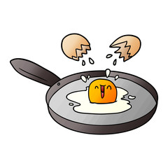 cartoon egg frying