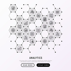 Analytics concept in honeycombs with thin line icons: diagram, chart, statistics, pyramid, business analysis. Modern vector illustration for banner, web page, print media.