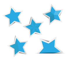Blue star paper stickers with shadows