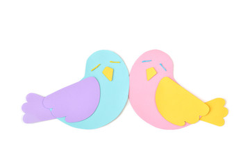 Lovebird paper cut on white background - isolated