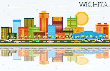 Wichita Kansas USA City Skyline with Color Buildings, Blue Sky and Reflections.